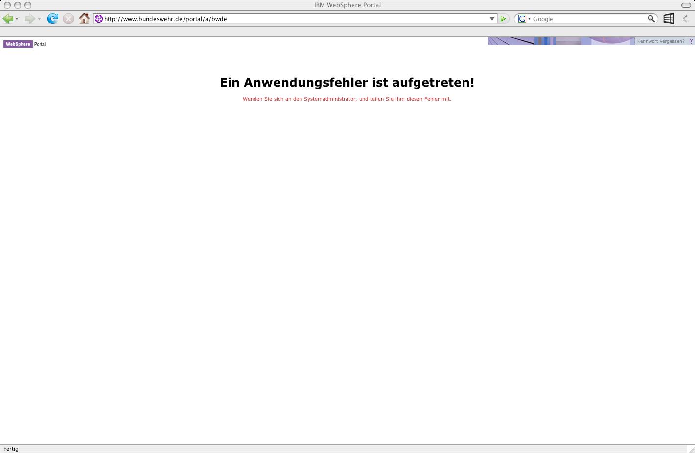 Webseite der Bundeswehr am 20. Oktober 2008, 14.30 Uhr