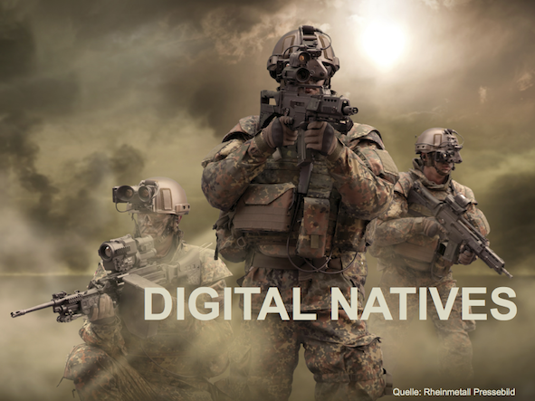 Drei Soldaten ausgerüstet mit dem Gladius-System von Rheinmetall Defence. Darauf die Überschrift Digital Natives.
